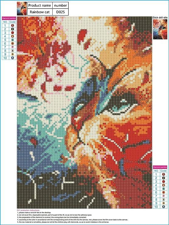... Pinturas Rhinestone Pegado DIY Pintura Diamante punto de Cruz del 5D diamante pintura pintura taladro arco iris gato 30 * 40 cm de Conveniente para la ...