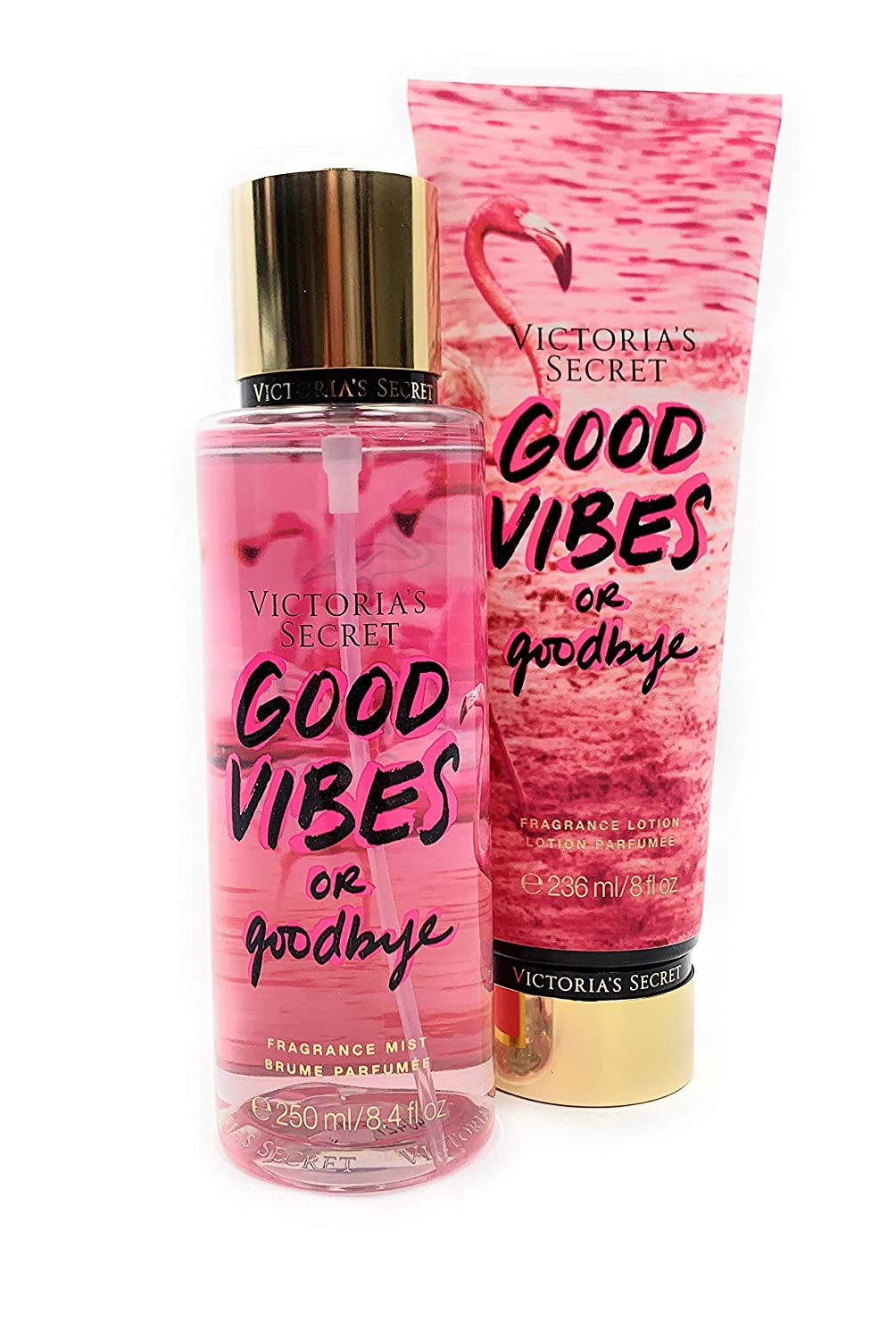 Victoria's Secret Good Vibes or Good Bye Body Mist and Fragrance Lotion Limited Edition Set