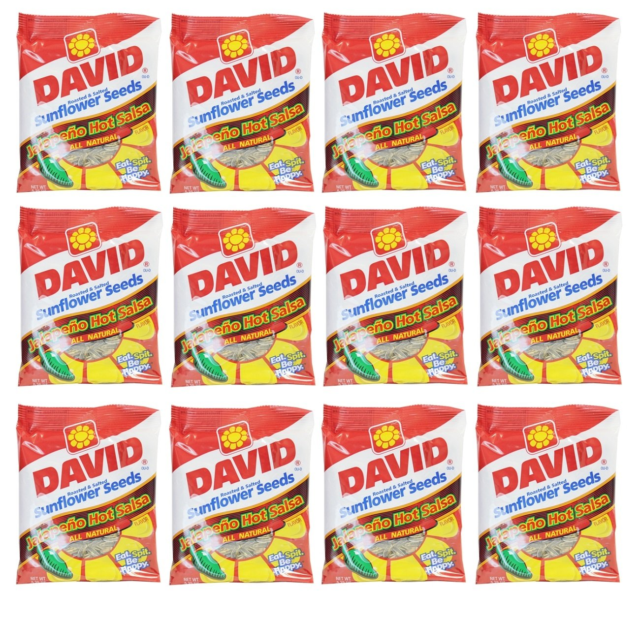Delicious Treats David Sunflower Seeds Jalapeno Hot Salsa - 12 Bag of 5.25 Oz - Tj11 by DAVID Seeds