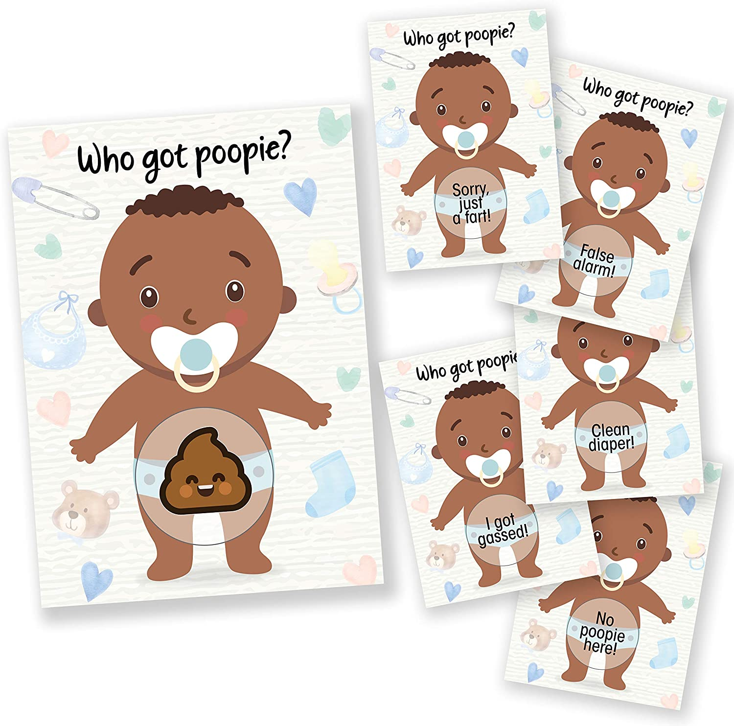 Baby Shower Games 33 Raffle Cards, Party Hearty, Poopie Emoji Scratch Off Lottery Tickets, Boy African American, 3 Winners 5 Different Loser Card Designs, Silly Activity for Ice Breakers, Door Prizes