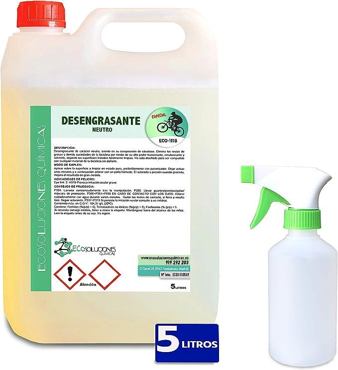 Ecosoluciones Químicas ECO-111 | 5 litros | Desengrasante Neutro para Bicicletas | Protege Todas Las Piezas de la Bicicleta | Desengrasante Cadenas | Incluye PULVERIZADOR: Amazon.es: Deportes y aire libre
