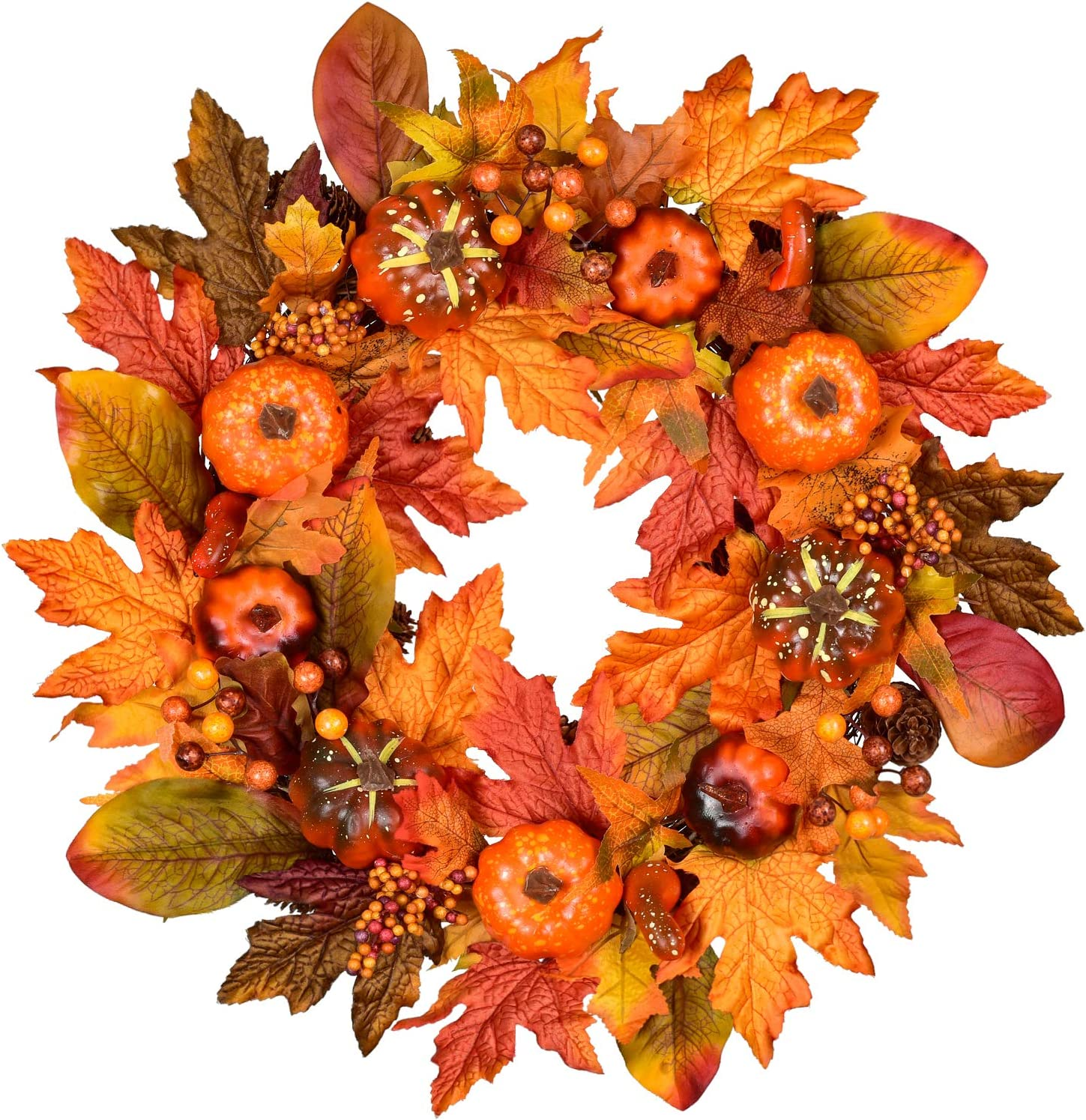 DearHouse Artificial Fall Wreath Red Berry Wreath,18 inch Fall Maple Leaf Wreath for Front Door Fall Decorations