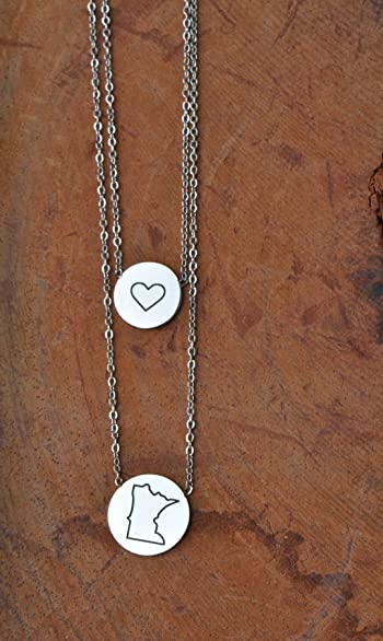 State Heart Disc Pendant Necklace - Double Chain Stainless Steel