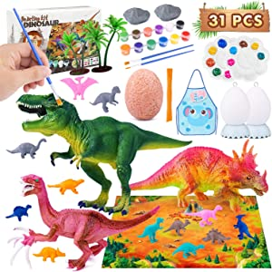Icwin Dinosaur Painting Kit for Kids Crafts and Arts Set, Dinosaurs Toys Art and Craft Supplies for Children Paint Your Own Dinosaur(31pcs)
