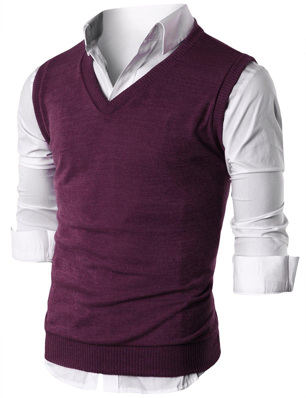 Ohoo Mens Slim Fit Casual V-Neck Knit Vest/DCV010-PURPLE-S
