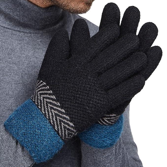 Amazon.com: LETHMIK grueso de invierno tejer guantes para ...