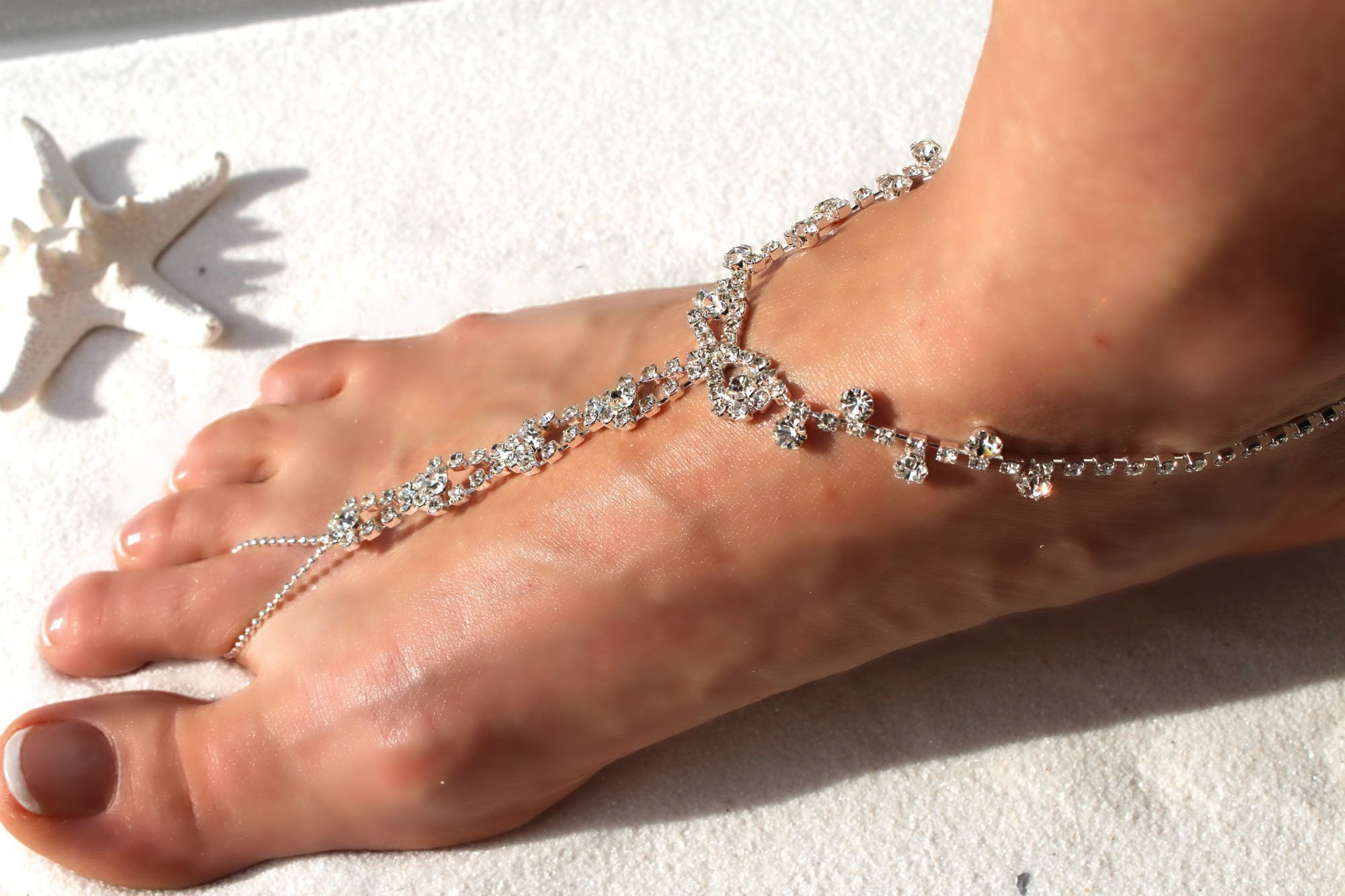 Barefoot Sandals Beach Wedding Themed Sparkling Crystal Clear Rhinestone Luxurious Anklet Elegant Design