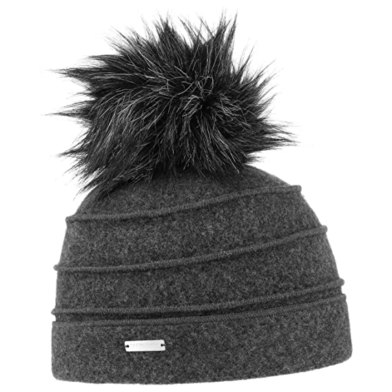 7b956358d01 Seeberger Sukie Milled Wool Pompom Hat Winter Beanie Women´s (One Size -  Anthracite)  Amazon.co.uk  Clothing