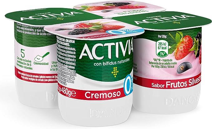 Activia Yogur Danone Cremoso 0% Frutas Silvestres, 4 x 120g