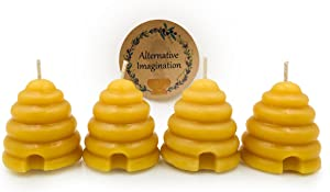 Hand Poured, 100% Pure, Natural Beehive Candle Votives. Package of 4.