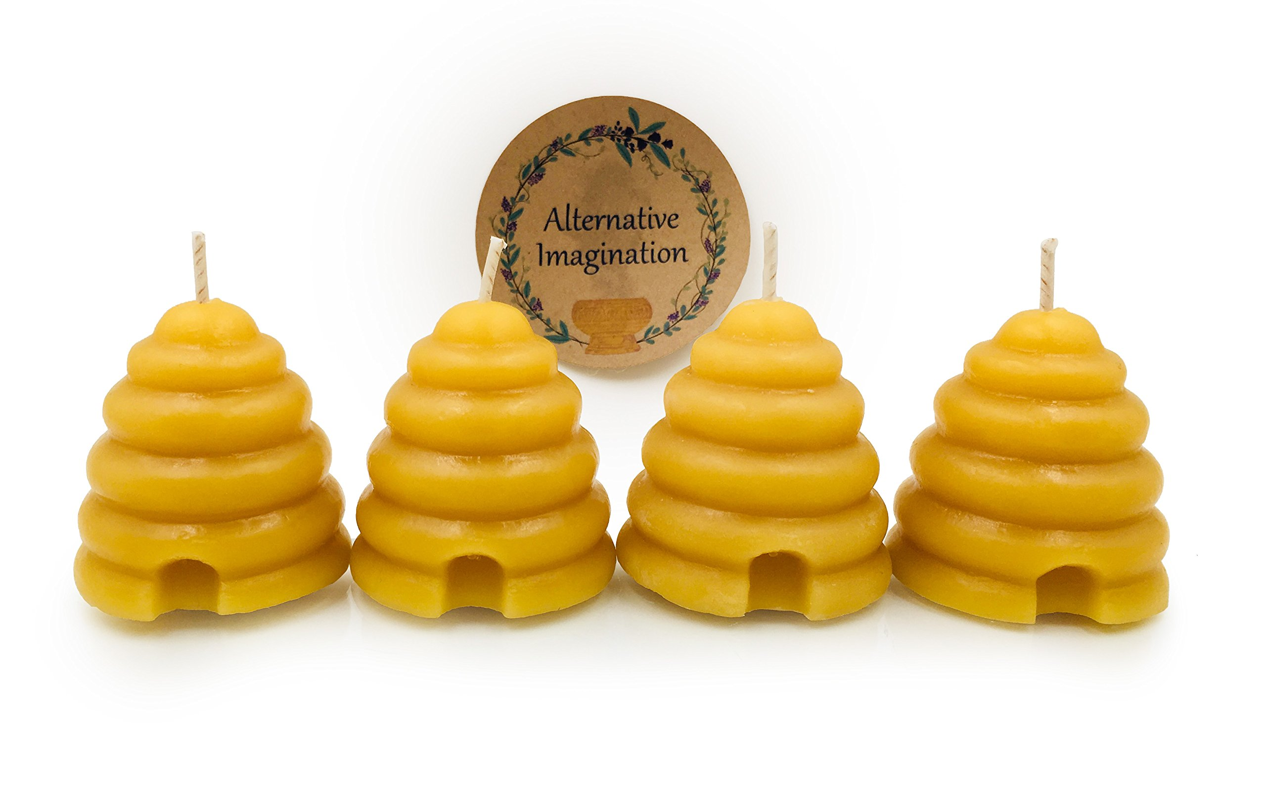 Alternative Imagination Beehive Votive Candle, Hand Poured with 100% Premium Beeswax (Pack of 4)