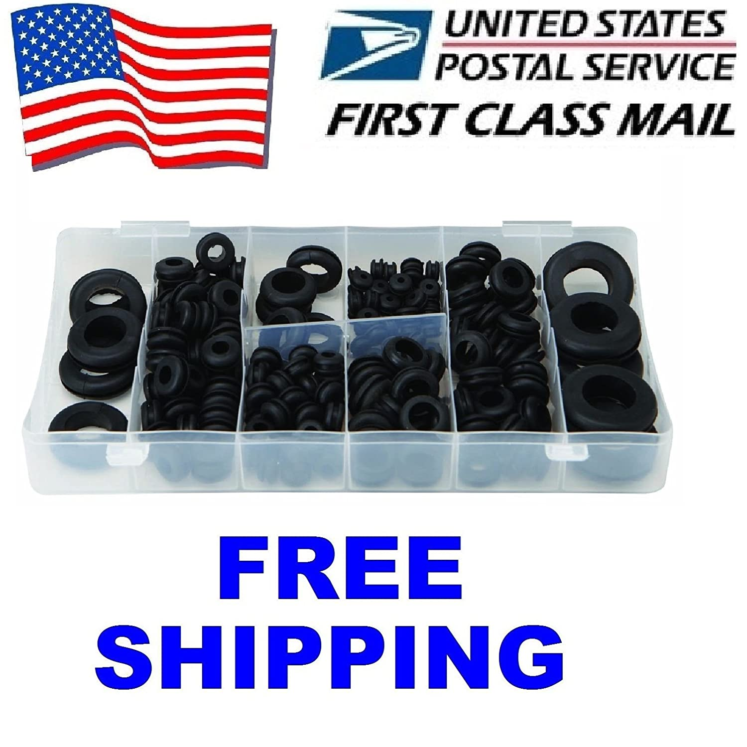 180 Pc Rubber Grommet Assortment Set Firewall Wiring Electrical Wire Gasket Kit