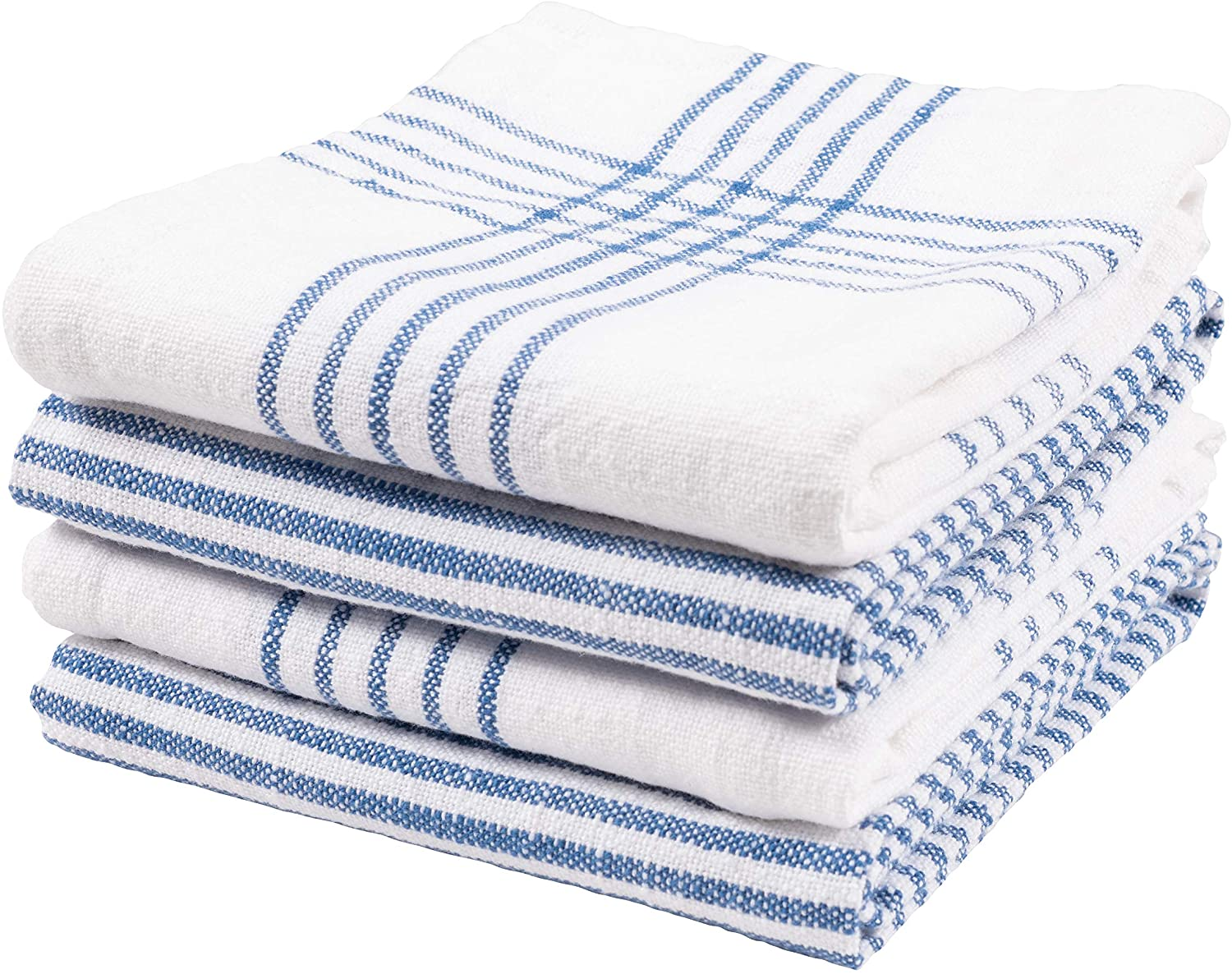 KAF Home Set of 4 Monaco Relaxed Casual Slubbed Kitchen Towel | 100% Cotton Dish Towel, 18 x 28 Inches | Soft and Absorbent Farmhouse Kitchen Towel | Set of 4 (Blue)