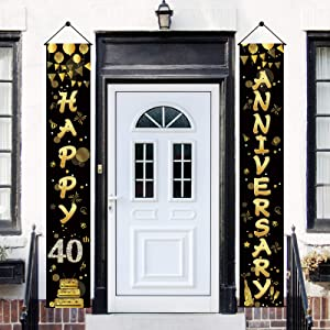 Yoaokiy 40th Anniversary Banner Decorations, Happy 40th Wedding Anniversary Party Sign Supplies, Gold Happy 40 Year Anniversary Party Welcome Porch Sign Decor for Outdoor Indoor
