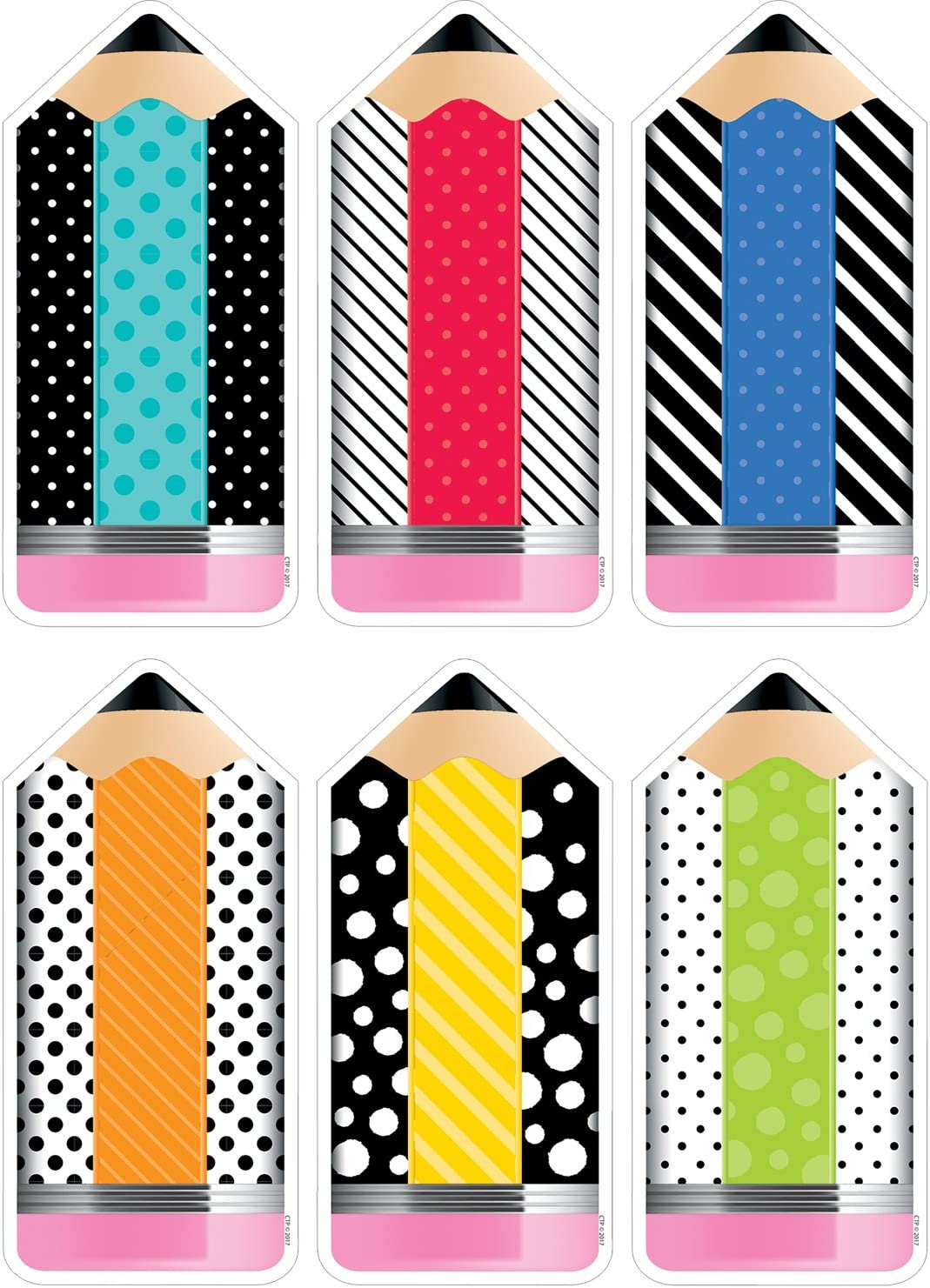 "Creative Teaching Press Bold & Bright Striped & Spotted Pencils 6""Designer Cut-Outs (Accent for Calendars, Bulletin Boards, Rooms, Hallways, Learning Spaces and Other Classrooms Displays) (3283)"