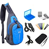 YB-OSANA 7 in 1 Travel Backpack Crossbody Bag + 3DS XL AC Adapter+ 3DS Car Charger +Soft Protective Bag+3DS Game Card Case+ N