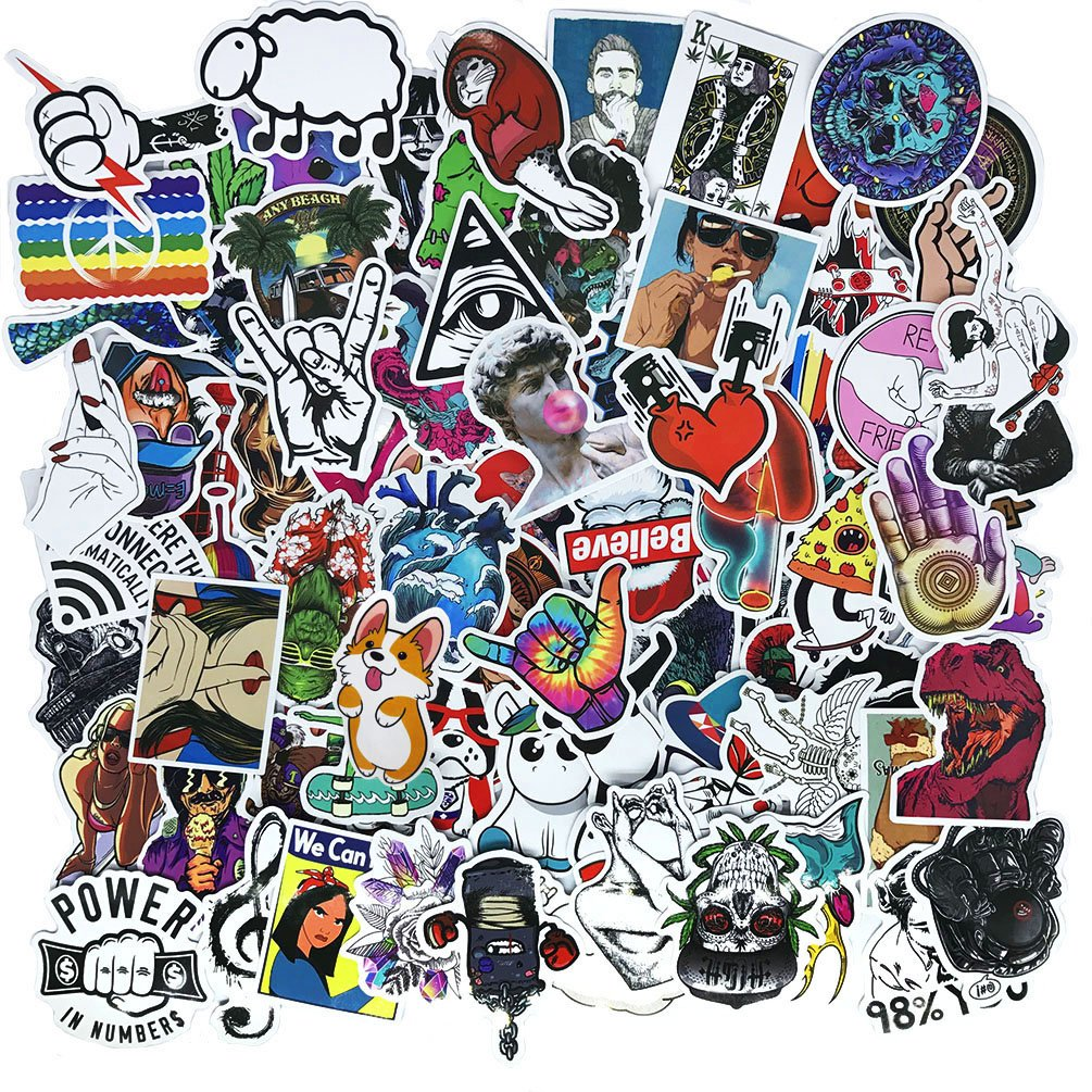 Amazon com cool teens 100 pieces cool stickers pack waterproof funny graffiti stickers decals for laptop bumper bike luggage skateboard helmet car phone