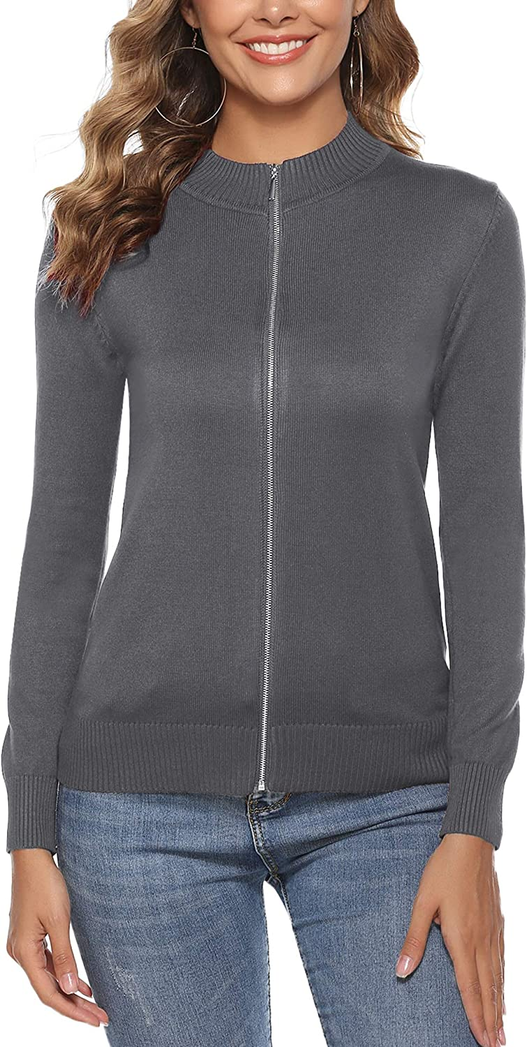 Aibrou Womens Zip Up Long Sleeve Open Front Knit Cardigan Sweater S-XXL