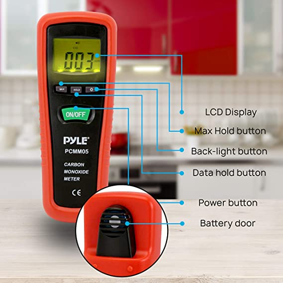 Hand Held Carbon Monoxide Meter - High Accuracy and 1000 PPM Measurement Range CO Sensor w/Digital LCD Display Auto Power Off Safety Alarm Battery ...