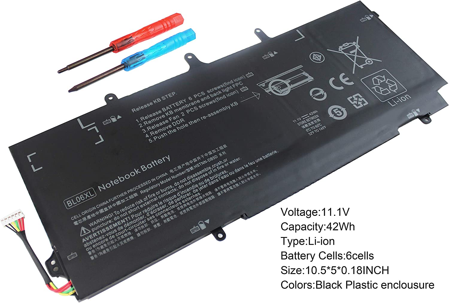 Gomarty BL06XL Laptop Battery Compatible for HP EliteBook Folio 1040 G0 G1 G2 BL06042XL HSTNN-DB5D HSTNN-IB5D HSTNN-W02C 722236-171 722236-271 722236-2C1 722297-001 005 F450 F450C