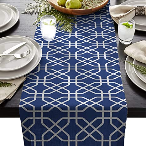 Amazoncom Cotton Linen Burlap Table Runner White Navy Blue