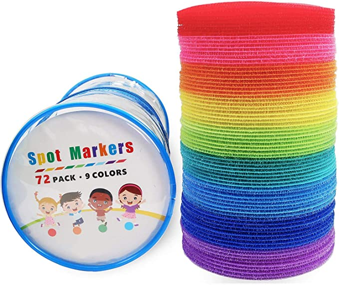 AllGoodWare Carpet Markers Colorful Sit Spots for Classrooms 9 Colors 54 Pcs
