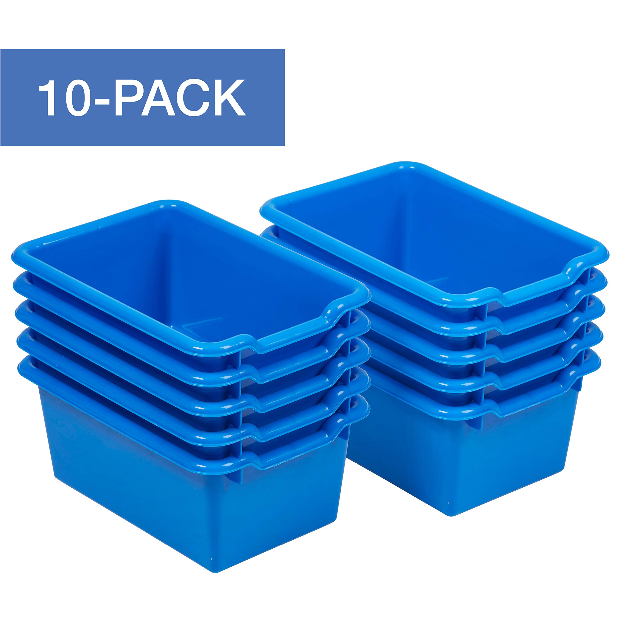 ECR4Kids Scoop-Front Storage Bins, Easy-to-Grip Design Storage Cubbies, Kid Friendly and Built to Last, Pairs with ECR4Kids Storage Units, 10-Pack, Blue by ECR4Kids