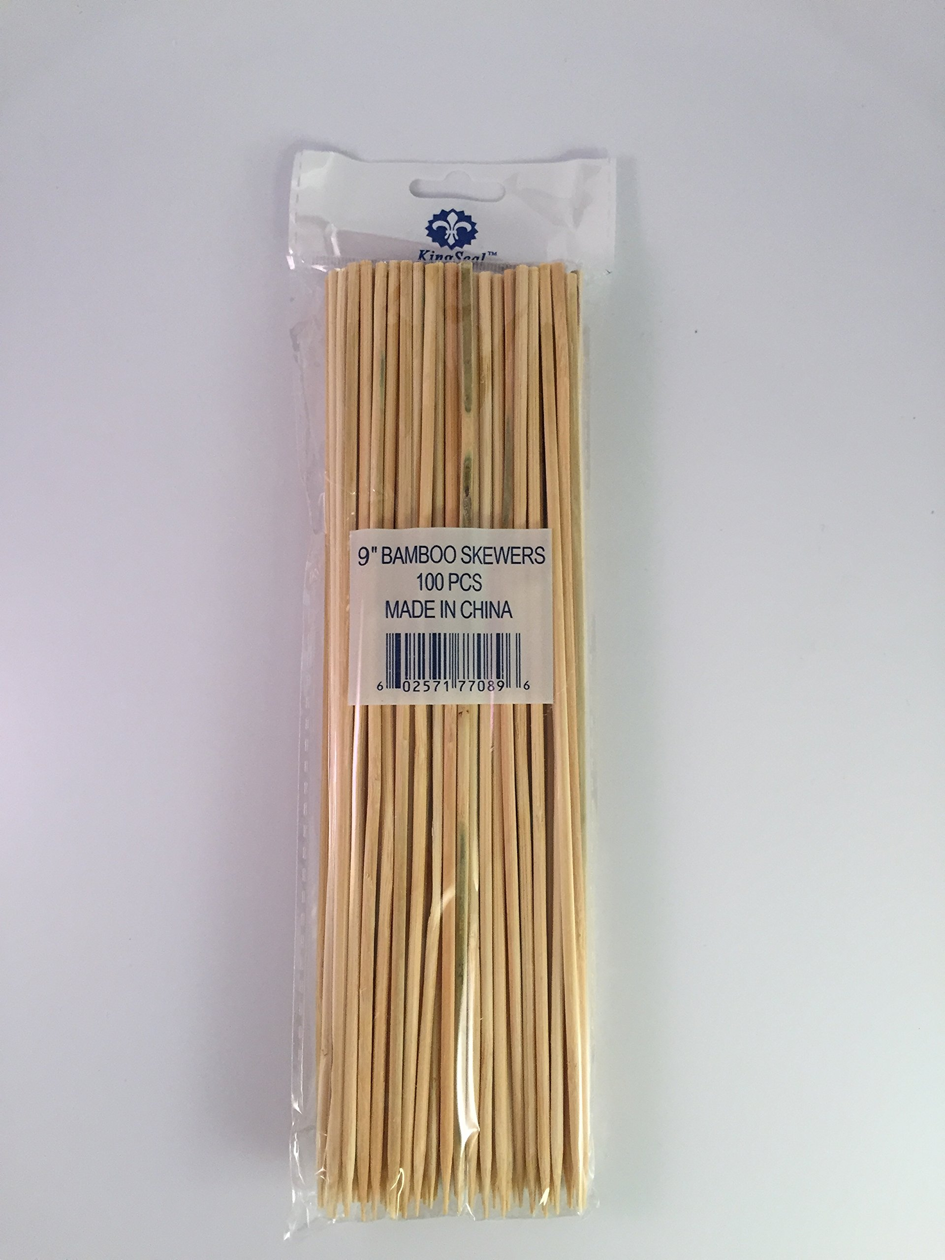 KingSeal Natural Bamboo Wood Skewers - 9 Inches, Master Case of 12/16/100 (19,200 pcs total)