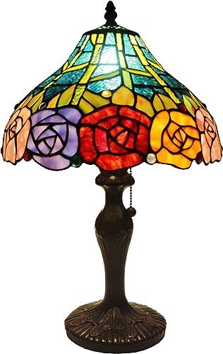 Amora Lighting Tiffany Style AM036TL12 Roses Design 19-inch Table Lamp