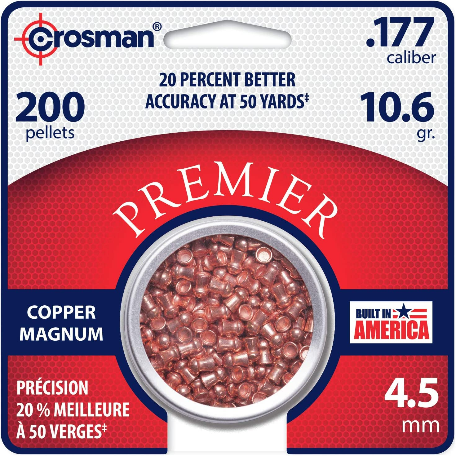 Crosman Copper Magnum Domed Pellets for Use with Pellet Air Rifles and Air Pistols