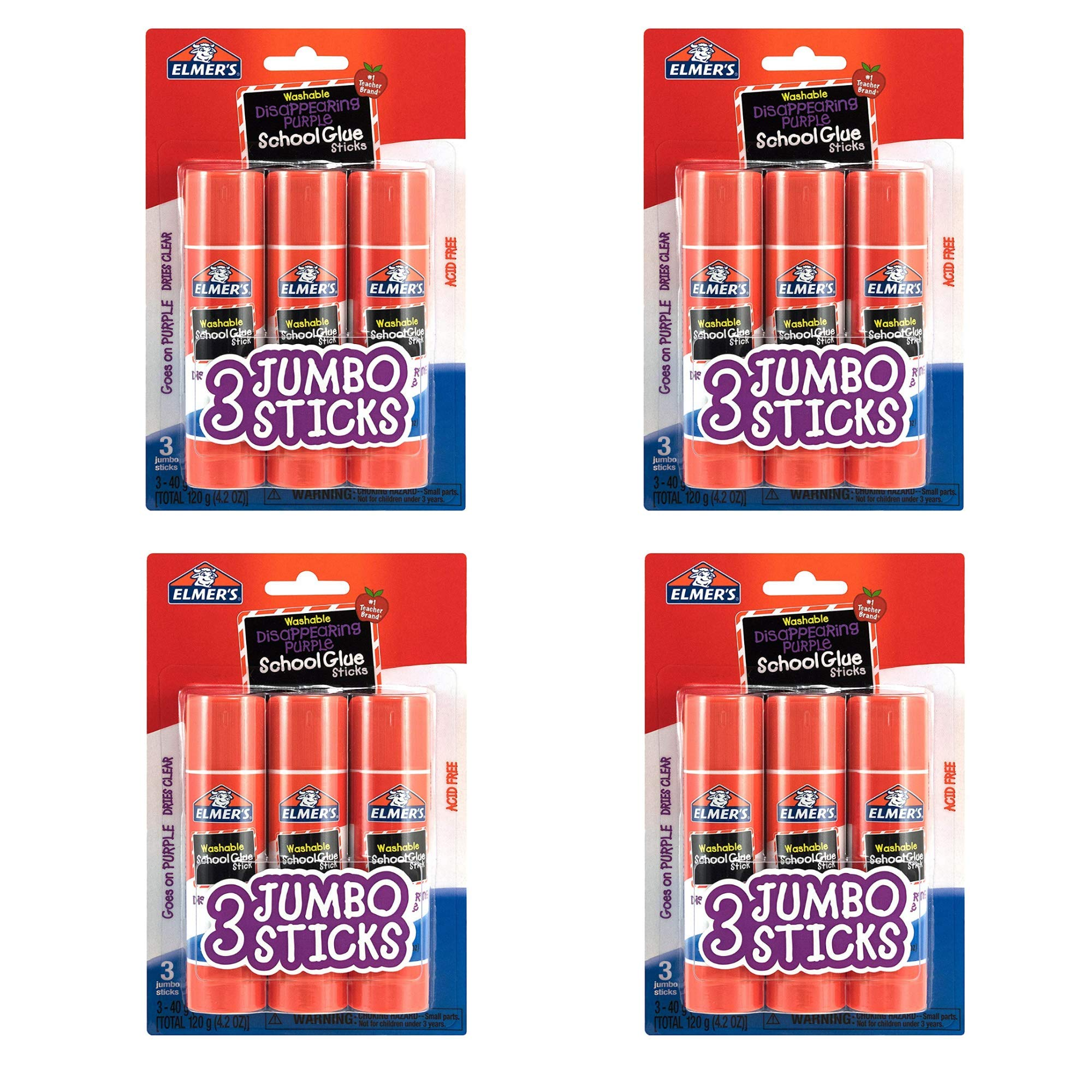 Elmers E579 Jumbo Disappearing Purple School Glue Stick, 1.4 Ounce, 4 Packs of 3 Sticks, 12 Sticks Total
