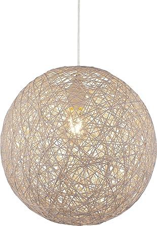 Kugel Design Decken Pendel Lampe Wohn Zimmer Papier Geflecht Hänge Leuchte beige