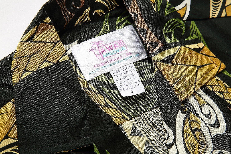 Made in Hawaii Mens Hawaiian Shirt Aloha Shirt in Honu Turtle Totem in Green Yellow