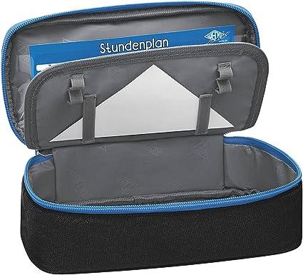 Wedo 24243010 estuche Estuche, poliéster, Interior Tapa, bolsillo con cremallera, negro/azul: Amazon.es: Oficina y papelería