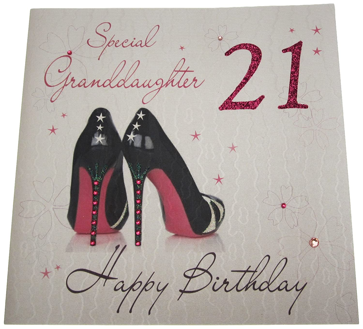 white cotton cards Code XLWBG21 Special GrandDaughter 21 Happy