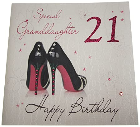 WHITE COTTON CARDS Code XLWBG21 Special GrandDaughter 21 Happy Birthday Large Handmade 21st Card 2 Shoes Amazoncouk Kitchen Home