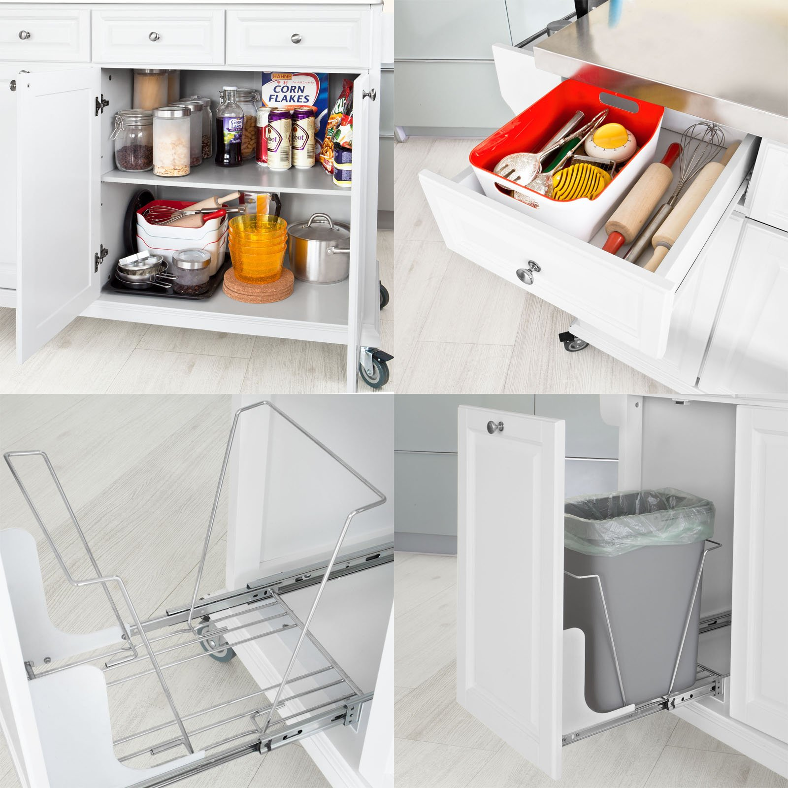 SoBuy?? White Luxury Kitchen Island Storage Trolley Cart, Kitchen Cabinet with Stainless Steel Worktop, FKW33-W by SoBuy by SoBuy (Image #7)