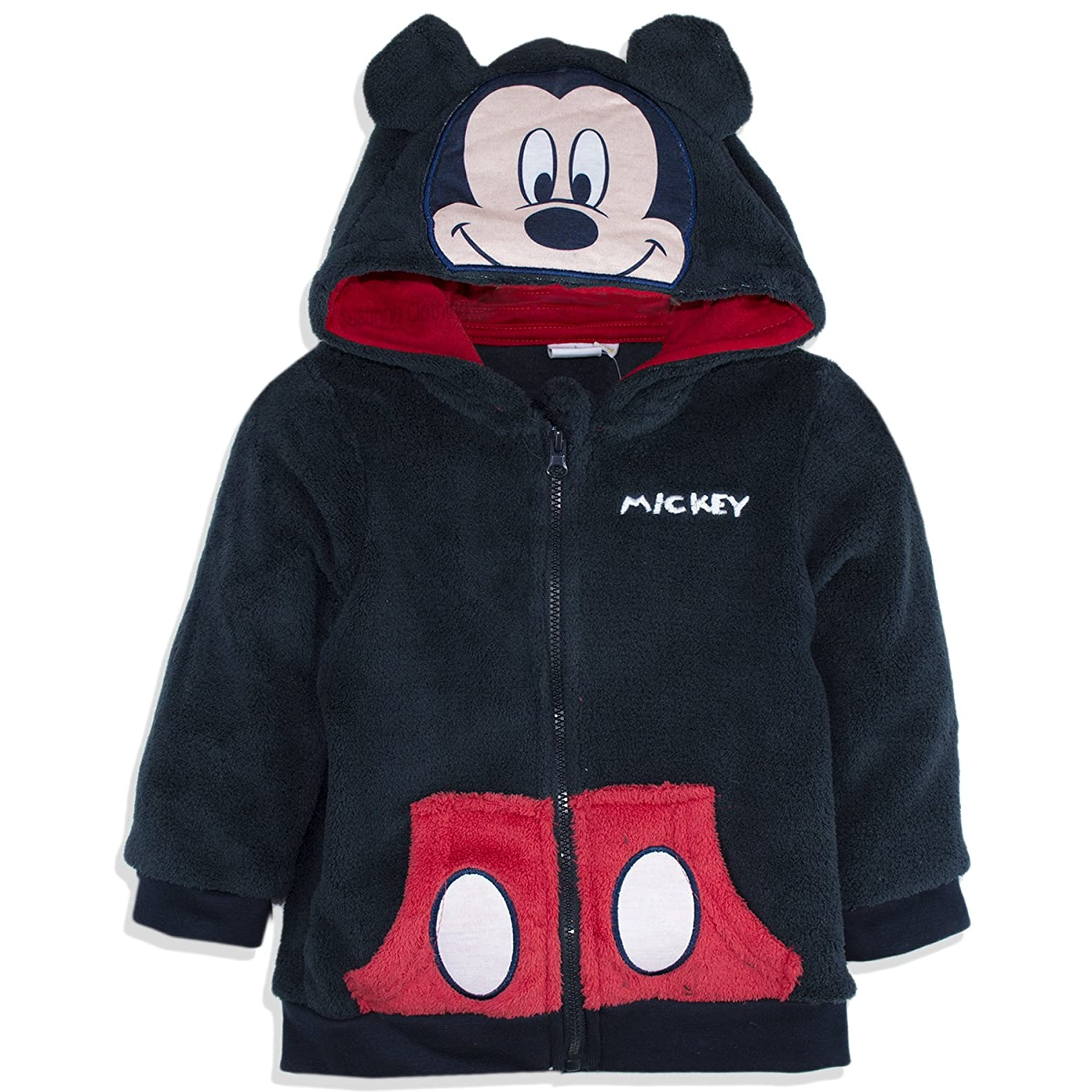 Disney Official Mickey Mouse Baby Boys Coral Fleece Hoodie Jumper Sweatshirt 9 Months - 3 Years - New 2017