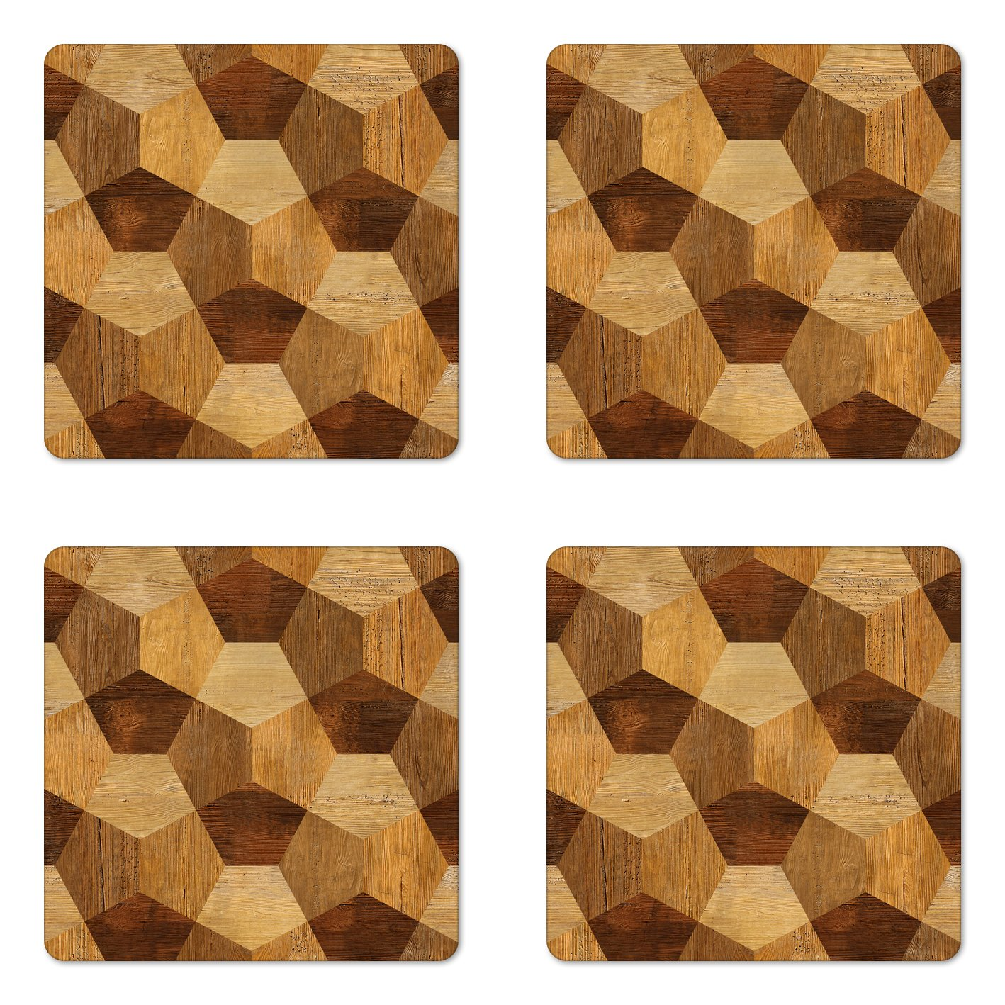Ambesonne Retro Coaster Set of Four, Abstract Parquet Flooring Wooden Rustic with Geometric Monochrome Pattern, Square Hardboard Gloss Coasters for Drinks, Brown Pale Brown