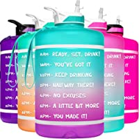 $27 » HydroMATE Gallon Motivational Water Bottle with Time Marker with Straw and Handle Large…