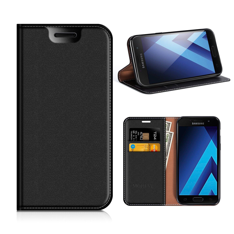 MOBESV Funda Cartera Samsung Galaxy A3 2017, Funda Cuero Movil Samsung A3 2017 Carcasa Case con Billetera/Soporte para Samsung Galaxy A3 2017 - Negro