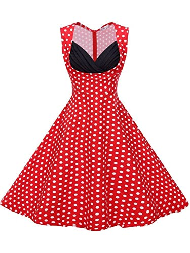 Babyonline Women's 50s V Neck Vintage Cut Out Retro Party Cocktail Swing Dresses