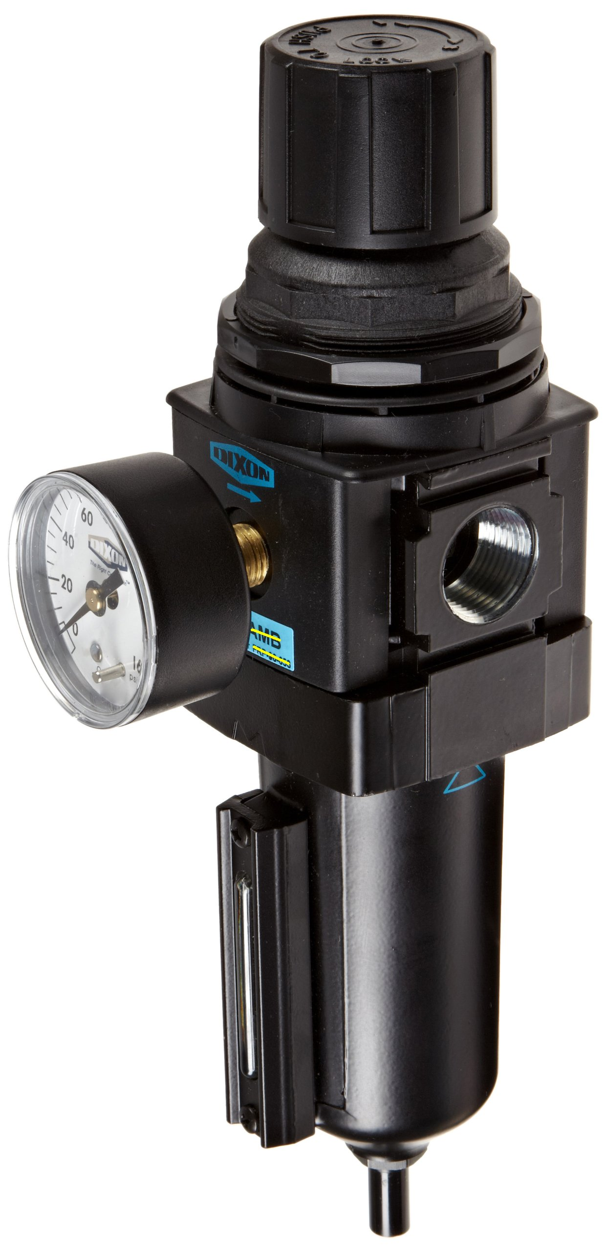 Dixon B28-06AGMB Automatic Drain Wilkerson Standard Filter/Regulator with Metal Bowl and Sight Glass, 3/4'' Size, 175 SCFM Flow, 250 psig Pressure by Dixon Valve & Coupling