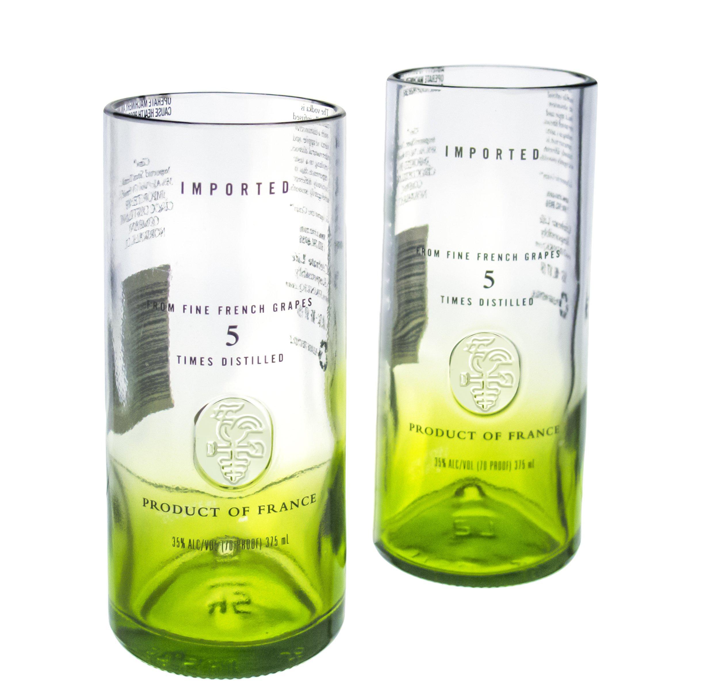 Ciroc Apple Vodka Reclaimed Bottles Glassware Barware Drinkware Highball Collins Glasses Gift Set