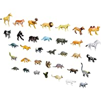 Click N' Play Mini Animal Figurine Playset, Assorted 60Piece Realistically Designed Wild Zoo, Safari, Jungle, Farm Plastic Animals for Kids & Toddlers