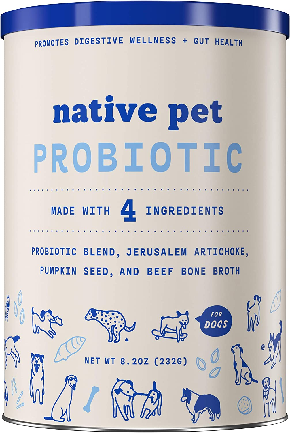 Native Pet Probiotic for Dogs - Vet Created Probiotic Powder for Dogs for Digestive Issues - Dog Probiotic Powder Blend + Prebiotic + Bone Broth - 232 Gram 6 Billion CFU - Probiotics Dogs Will Love!