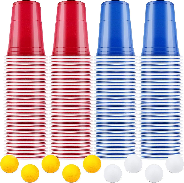 AOLUXLM Tazas de Fiesta, Vasos para Beber, 100 Beer Pong Tazas de Americanas y 10 Bolas, Vasos Desechables para Fiesta Navidad Cumpleaños