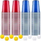 AOLUXLM Tazas de Fiesta, Vasos para Beber, 100 Beer Pong Tazas de Americanas y 10 Bolas, Vasos Desechables para Fiesta…