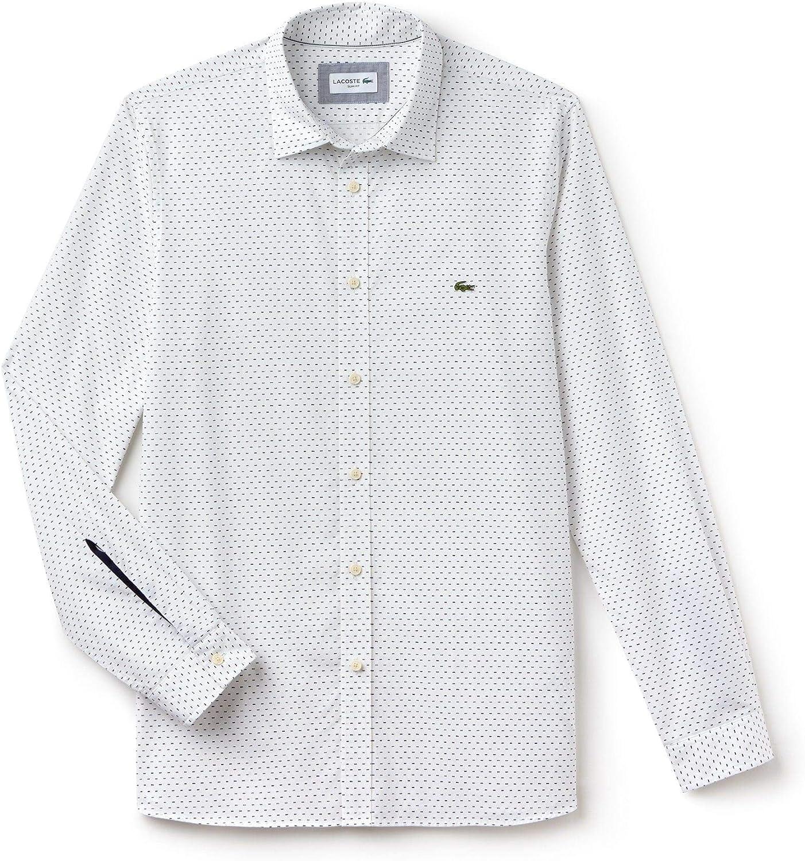 Lacoste - Camisa Formal - para Hombre Blanc/Marine 37: Amazon.es: Ropa y accesorios