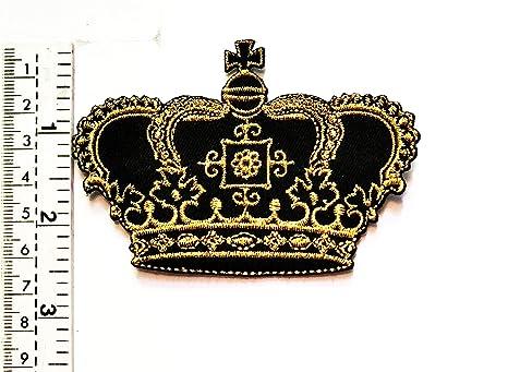 Parche de oro negro con diseño de corona de rey y reina con ...